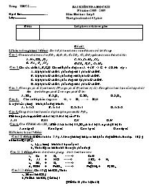 Bài kiểm tra học kì I - Môn Hoá học - Lớp 8