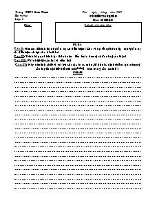 Bài kiểm tra học kì II môn: Sinh Học - Trường THCS Bình Thịnh