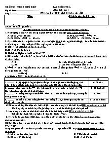 Bài kiểm tra - Môn: Sinh học 7 - Trường THCS Phú Sơn
