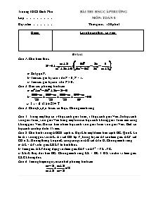 Bài thi học sinh giỏi cấp trường - Môn: Toán 8