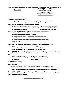 Đề khảo sát chất lượng giữa học kì II - Môn thi: Sinh 8