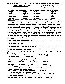 Đề khảo sát chất lượng - Môn Tiếng anh 8