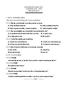 Đề kiểm tra 45' học kì II - Môn: Sinh học 8