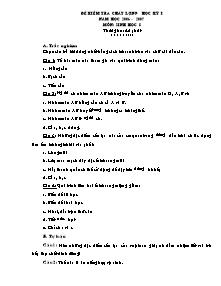 Đề kiểm tra chất lượng học kỳ I - Môn: Sinh học 8