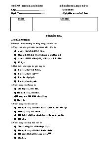 Đề kiểm tra học kỳ II - Môn: Sinh 8 - Trường THCS Đạ Mrông