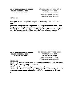 Đề thi khảo sát học kỳ II - Môn: Sinh học - Lớp 6