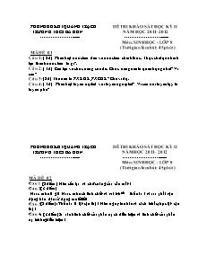 Đề thi khảo sát học kỳ II - Môn: Sinh học - Lớp 8