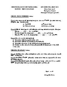 Kiểm tra học kỳ I - Môn Sinh 8 - Trường THCS Quản Lợi