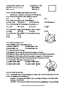 Bài kiểm tra 1 tiết - Môn kiểm tra: Hình Học lớp 8