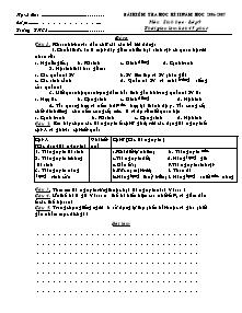 Bài kiểm tra học kì II - Môn Sinh học lớp 9 - Đề 2