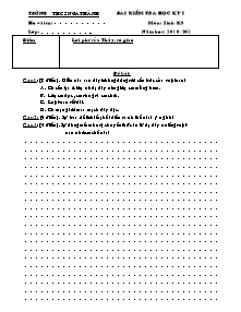 Bài kiểm tra học kỳ I - Môn: Sinh - khối 8