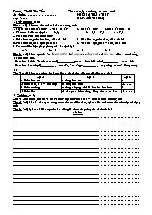 Đề kiểm tra 1 tiết - Môn: Công Nghệ 7 - Trường THCS Tân Tiến