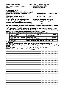 Đề kiểm tra 1 tiết - Môn: Công Nghệ lớp 7 - Trường THCS Tân Tiến