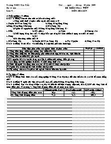 Đề kiểm tra 1 tiết - Môn: Địa lí 9 - Trường THCS Tân Tiến