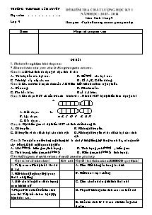 Đề kiểm tra chất lượng học kỳ - Môn: Sinh lớp 9