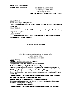 Đề kiểm tra học kì I - Môn: Lịch sử 6