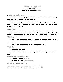 Đề kiểm tra học kỳ I - Môn: Địa lí 9