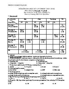 Đề kiểm tra học kỳ I - Môn: Sinh 9 - Trường THCS Lê Quý Đôn