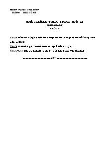 Đề kiểm tra học kỳ II - Môn: Địa lý khối: 6
