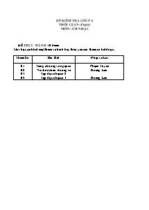 Đề kiểm tra lớp 6 - Môn: Âm nhạc