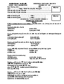 Đề kiểm tra và bài làm môn Sinh học 8