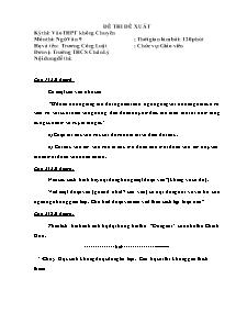 Đề thi đề xuất - Môn thi: Ngữ văn 9 - Trường THCS Chân Lý