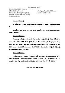 Đề thi đề xuất - Môn thi: Ngữ văn 9
