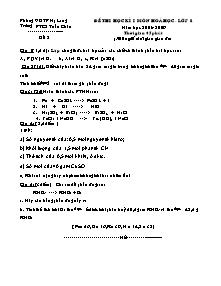 Đề thi học kì I - Môn Hóa học - Lớp 8