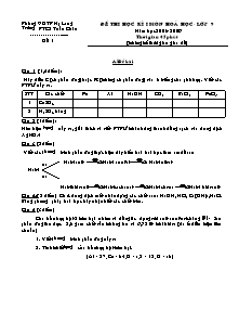 Đề thi học kì I - Môn Hoá học - Lớp 9