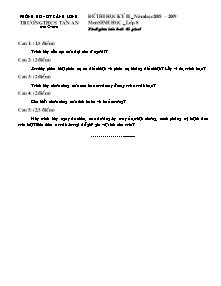 Đề thi học kỳ II - Môn Sinh học lớp 8 - Đề 06