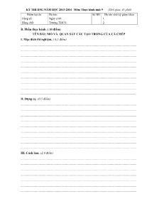 Đề thi học sinh giỏi - Môn: Thực hành Sinh 9