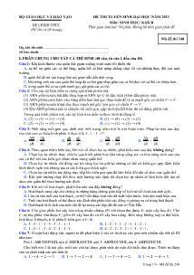 Đề thi tuyển sinh Đại học - Môn Sinh khối B - Mã đề thi 248
