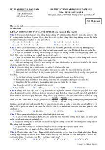Đề thi tuyển sinh Đại học - Môn Sinh khối B - Mã đề thi 469