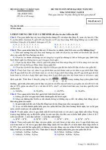Đề thi tuyển sinh Đại học - Môn Sinh khối B - Mã đề thi 613