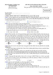 Đề thi tuyển sinh Đại học - Môn Sinh khối B - Mã đề thi 852