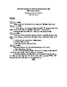 Đề thi vào lớp 10 THPT - Môn: Vật lý (đề thi thử lần I)
