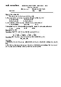 Kiểm tra chất lượng học kì II - Môn: Hóa học 9