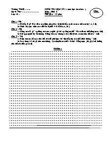 Kiểm tra học kì I - Môn: Sinh 8 - Đề 30