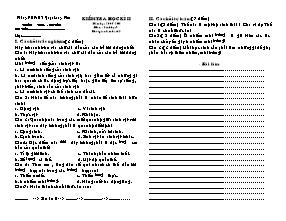 Kiểm tra học kì II - Môn: Sinh học 9 - Trường THCS Việt Hưng