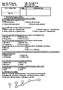 Kiểm tra học kỳ II - Môn: Sinh Học - Trường THCS TT Long Phú