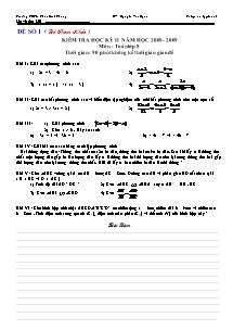 Kiểm tra học kỳ II môn: Toán lớp 8 - Trường THCS Phan Đình Phùng