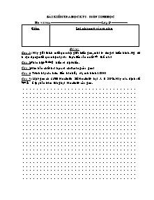 Bài kiểm tra học kỳ I - Môn Sinh Học 9 - Đề 1