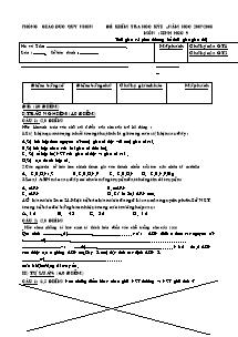Đề kiểm tra học kỳ I - Môn: Sinh học 9 - Đề 5