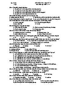 Để kiểm tra học kỳ II - Môn Sinh học 11