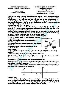 Đề thi học sinh giỏi lớp 9 - Môn: Vật Lý