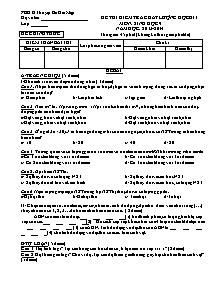 Đề thi kiểm tra chất lượng học kì I - Môn: Sinh học 9