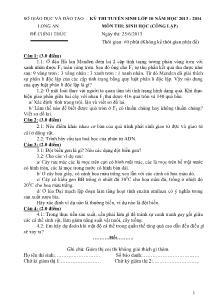Đề thi tuyển sinh lớp 10 - Môn thi: Sinh (công lập)