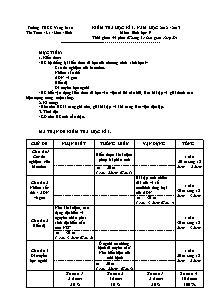 Kiểm tra học kì I - Môn: Sinh học 9 - Trường THCS Yang Mao