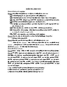Kiểm tra học kì I - Môn Sinh vật 9