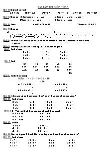 Bài tập ôn tập tết môn Toán, Tiếng việt Lớp 2